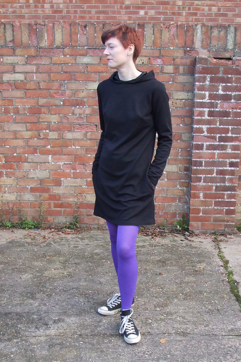 Butterick 6233 hoodie dress front view