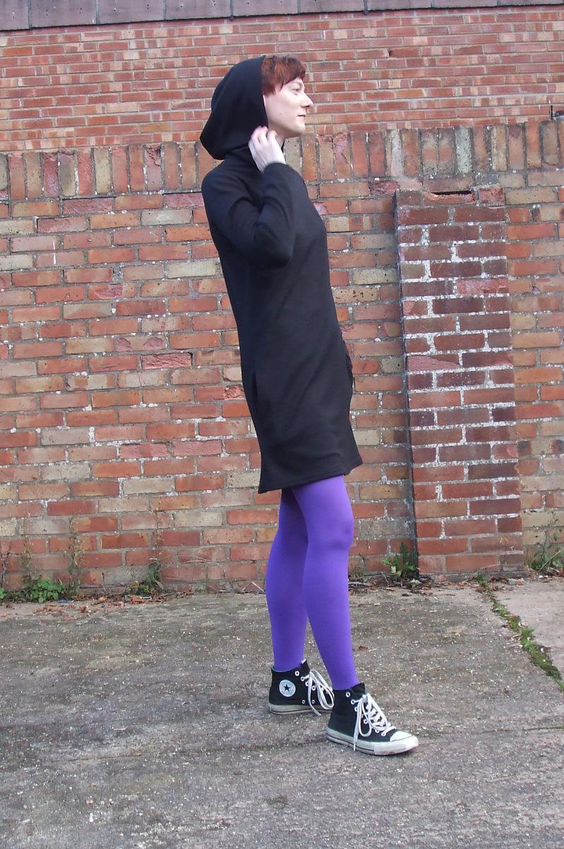 Butterick 6233 hoodie dress side view