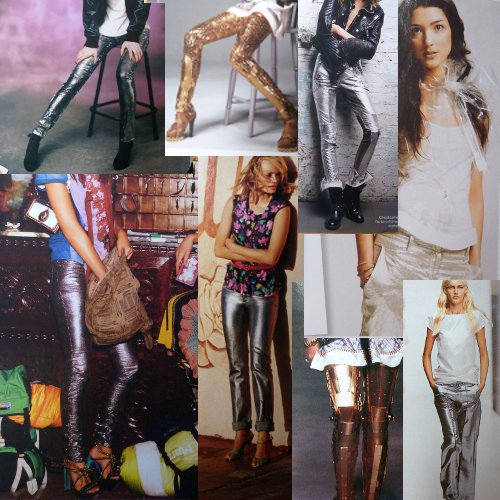 collage of shiny trouser pictures