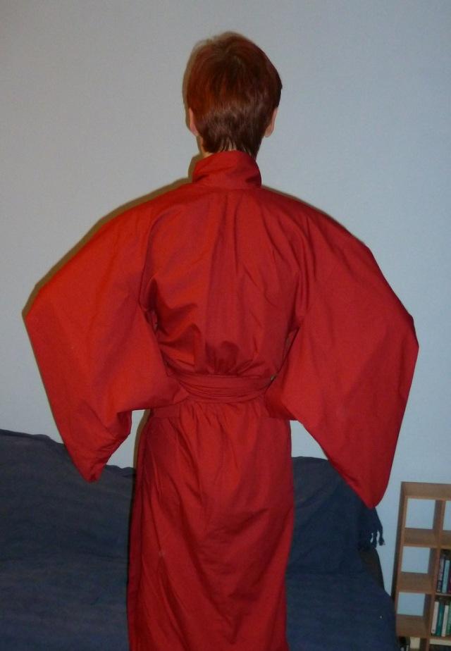 Red kimono back view