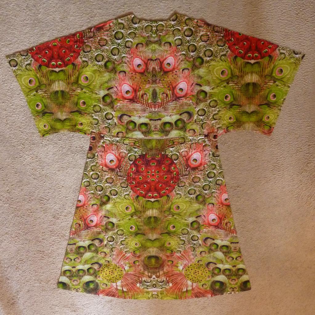 Peacock dress cut fabric pieces - back
