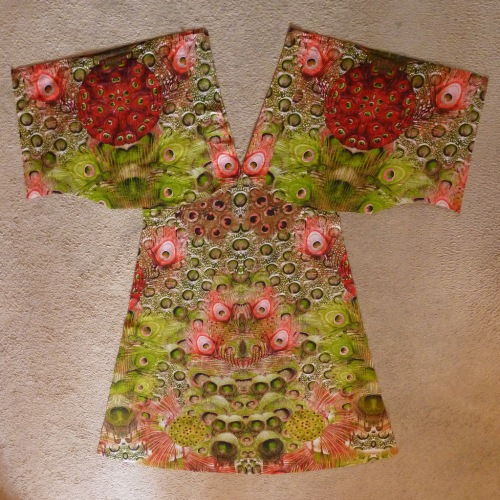 Peacock dress cut fabric pieces - front
