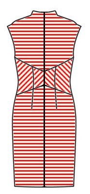 Stripes back view - midriff upwards chevrons, skirt horizontal, upper back horizontal