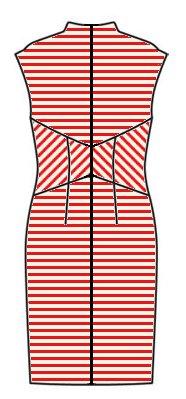 Stripes back view - midriff upwards chevrons, skirt horizontal, upper back horizontal