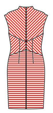 Stripes back view - midriff upwards chevrons, skirt horizontal, upper back downwards chevrons