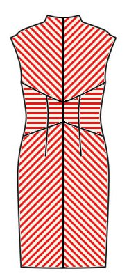 Stripes back view horizontal waist,centered diagonals