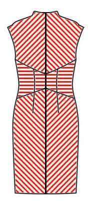 Stripes back view - midriff horizontal, skirt downwards chevrons, upper back upwards chevrons