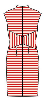 Stripes back view - midriff vertical, skirt horizontal, upper back horizontal