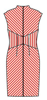 Stripes back view - midriff vertical, skirt upwards chevrons, upper back downwards chevrons