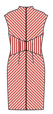 Stripes back view - midriff vertical, skirt upwards chevrons, upper back downwards chevrons