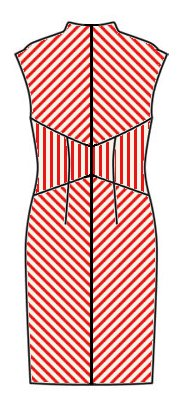Stripes back view - midriff vertical, skirt downwards chevrons, upper back upwards chevrons