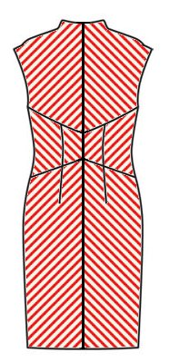 Stripes back view - midriff downwards chevrons, skirt upwards chevrons, upper back upwards chevrons