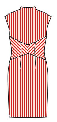 Stripes back view - midriff downwards chevrons, skirt vertical, upper back vertical