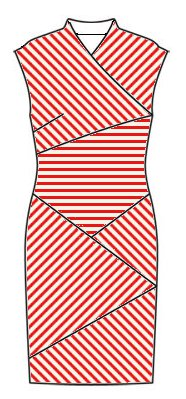 Stripes front view - midriff horizontal, right front slants top right to bottom left