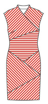 Stripes front view - midriff horizontal, right front slants top left to bottom right