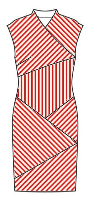 Stripes front view - midriff vertical, right front slants top left to bottom right