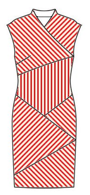 Stripes front view - midriff vertical, right front slants top right to bottom left