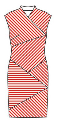 Stripes front view - midriff slants top left to bottom right