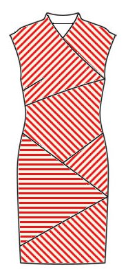 Stripes front view - midriff slants top right to bottom left