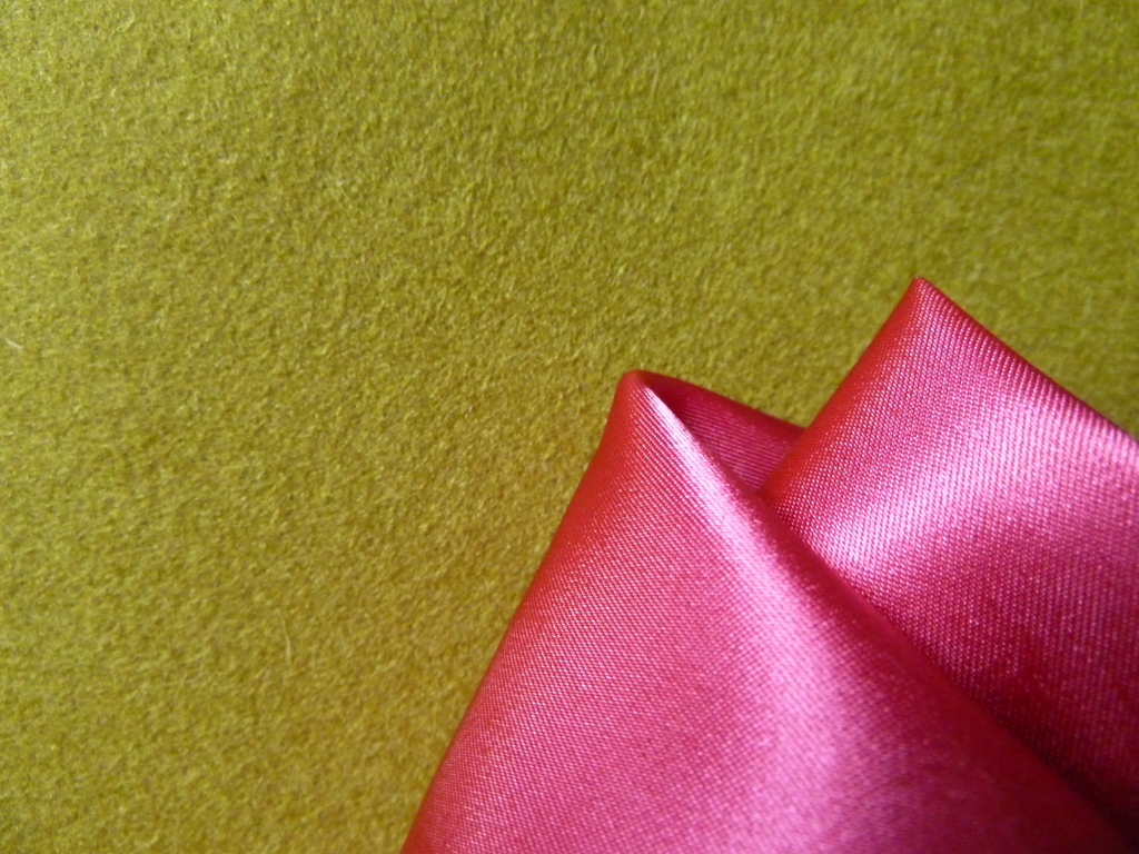 Green coat fabric with pink lining