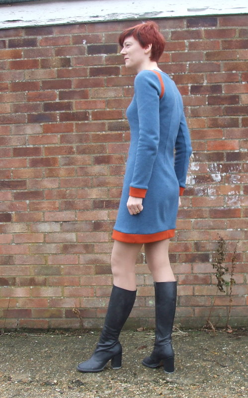 Blue and orange doubleknit dress