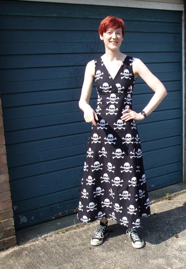 Scary go round skull print dress