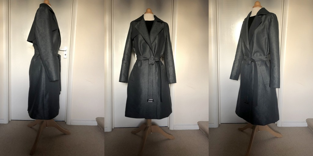 Three views of Burda 105 02 2019 trench coat