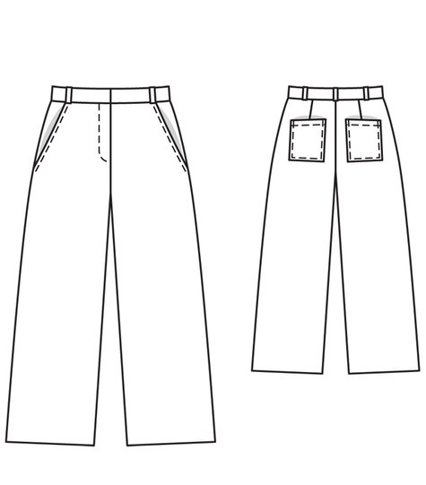 Technical drawing of Burda 112A 03/2012 culottes