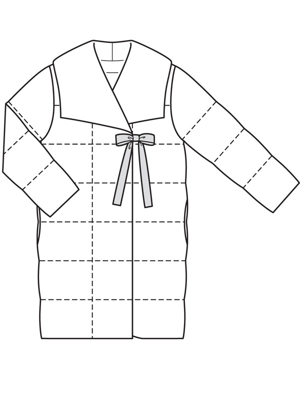 Burda 114/11/2019 quilted coat technical drawing