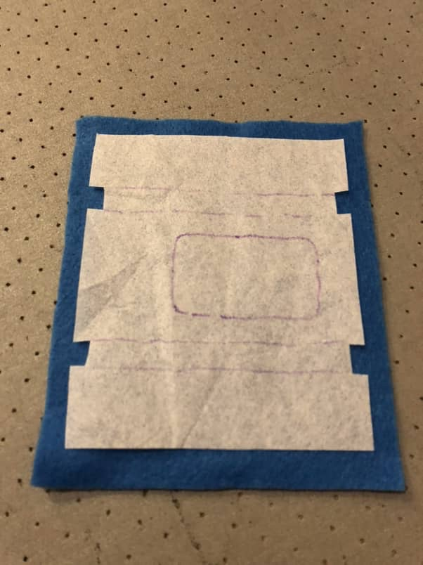 Blue felt with interfacing applied and marked
