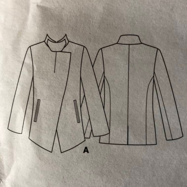 Technical drawing of a jacket with a high neck and asymmetric closure(Vogue 1466)