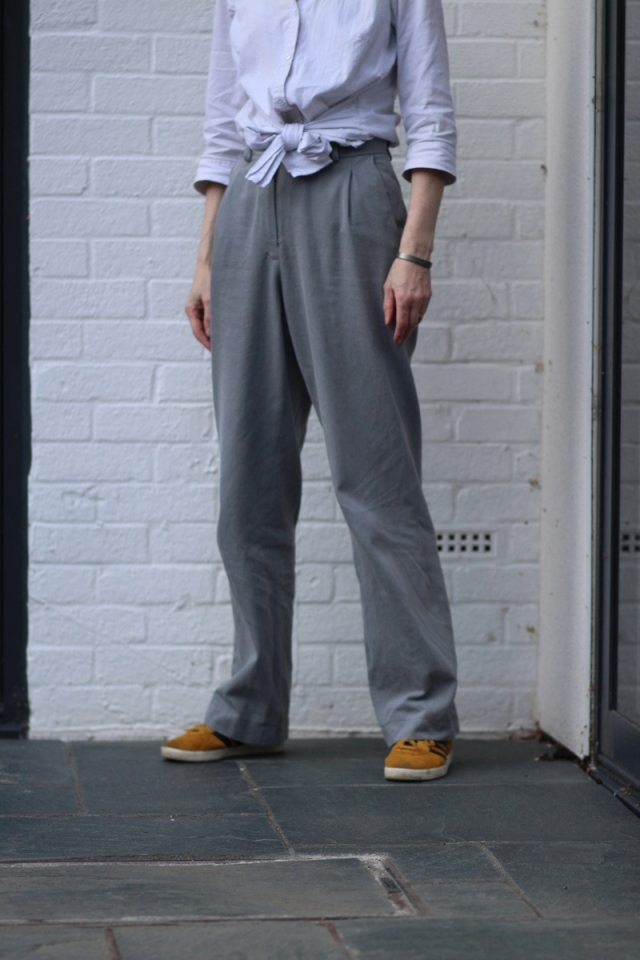 Closeup of grey trousers