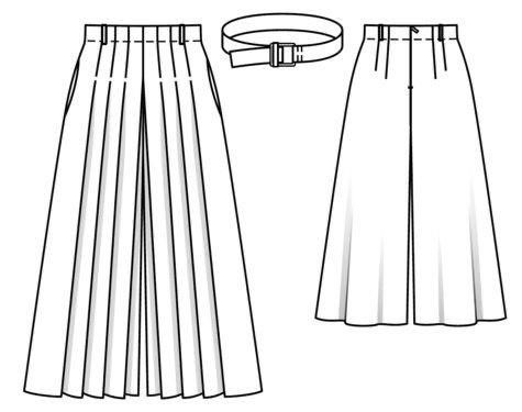 Technical drawing of pleated culottes Burda 108 07/2018