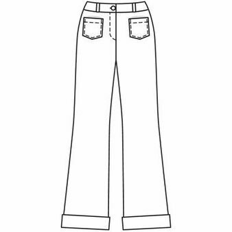 Technical drawing of Burda 118 04/2009 flared jeans with front patch pockets