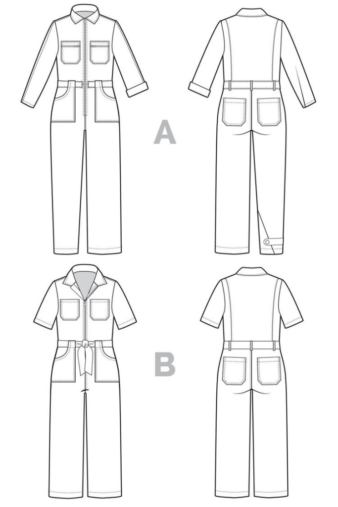 Technical drawing of a  jumpsuit  with various sleeve and arm options