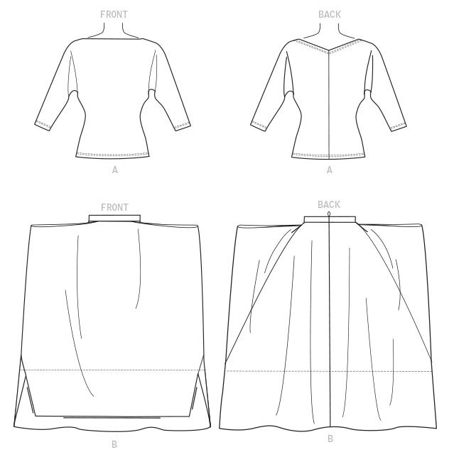 Vogue 1567 line art: a dolman sleeved top and draped skirt